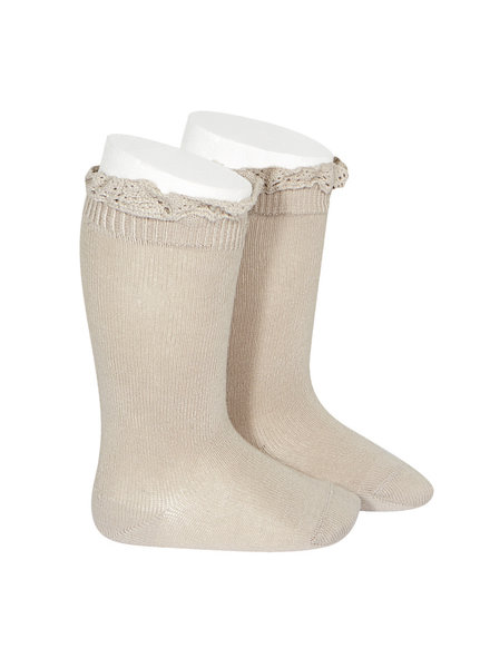Condor lace trim knee socks  - stone beige - size 00 to 35