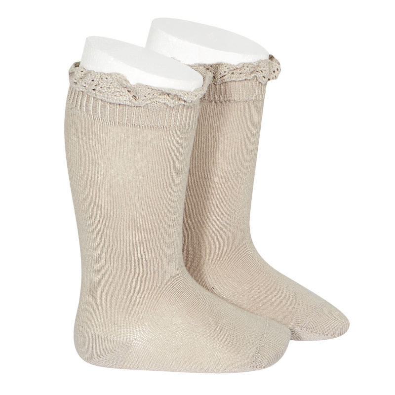 Condor lace trim knee socks  - stone beige - size 0 to 35