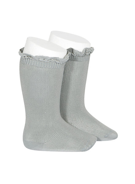 Condor lace trim knee socks  - pale jade - size 00 to 35