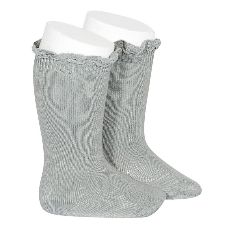 Condor lace trim knee socks  - pale jade - size 0 to 35
