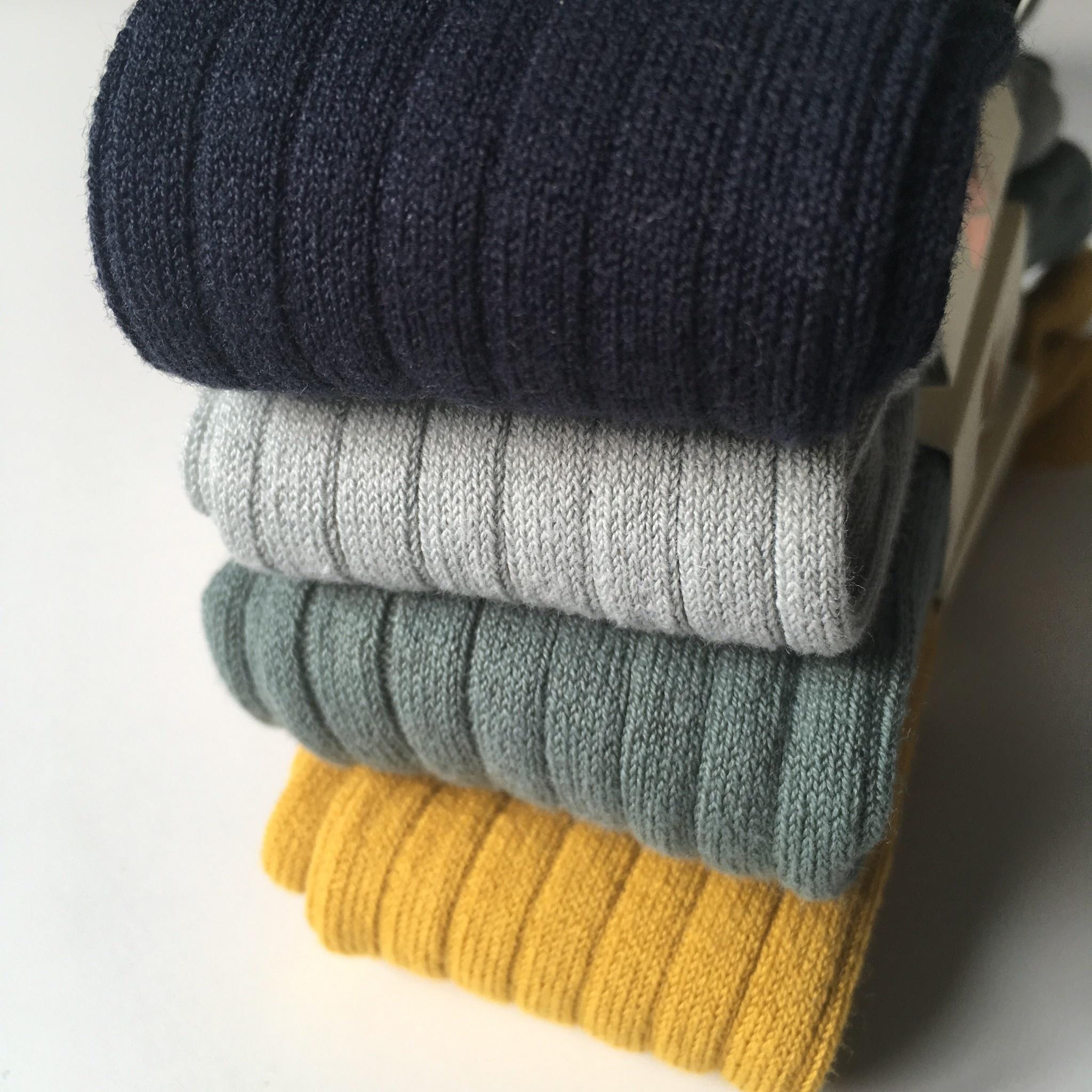 Condor cotton tights - wide-rib basic - mustard - 50 to 180 cm