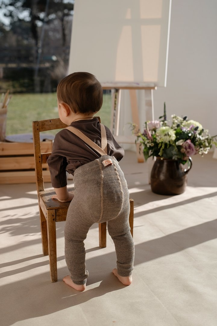 Silly Silas footless tights with suspenders - 100% cotton - charcoaly brown - 6 m to 4 years