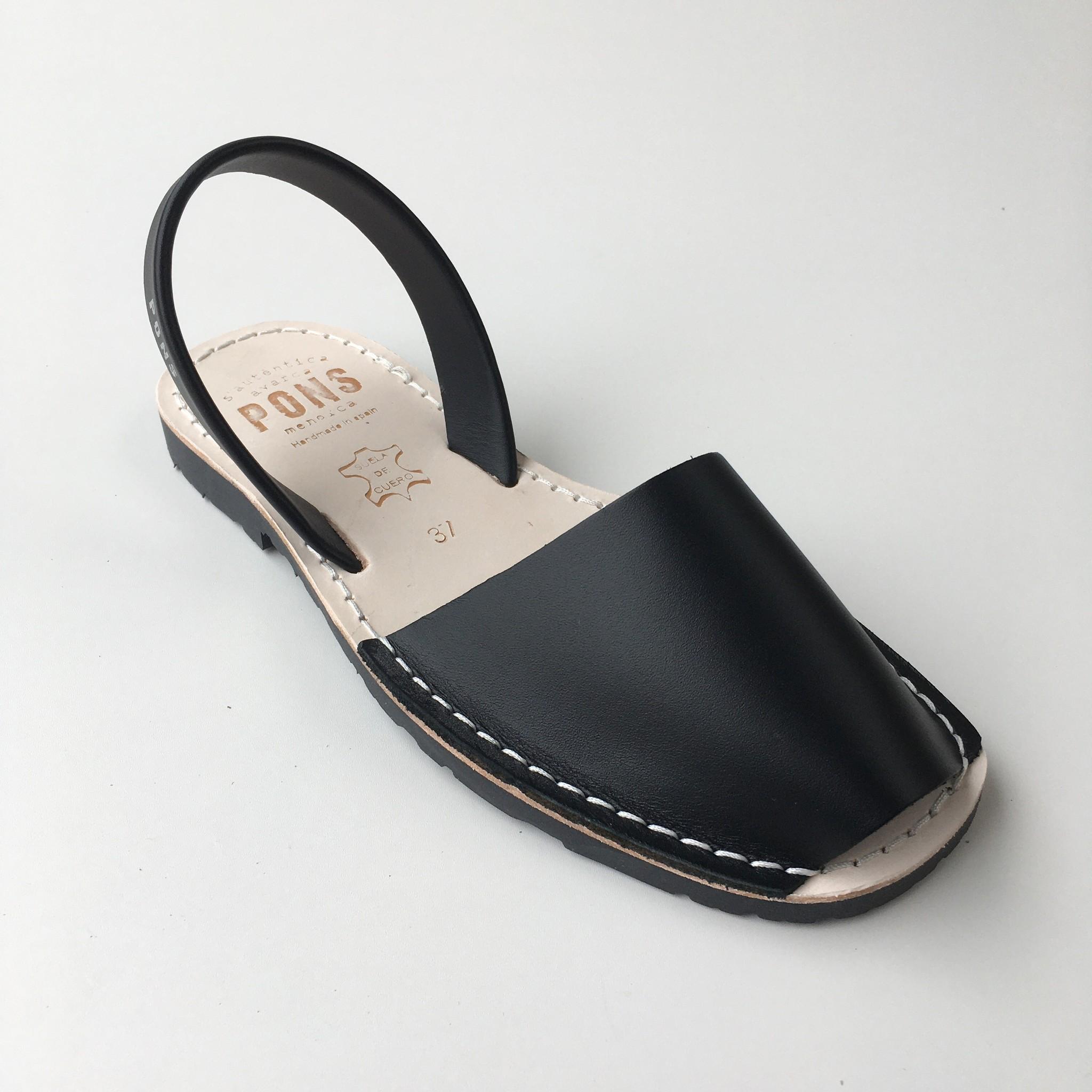 Pons  leren avarca sandaal dames PARIS - zwart - 35 tm 42