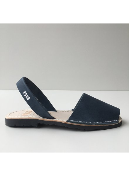 Pons  women avarca sandal PARIS - navy blue leather - 35 to 42
