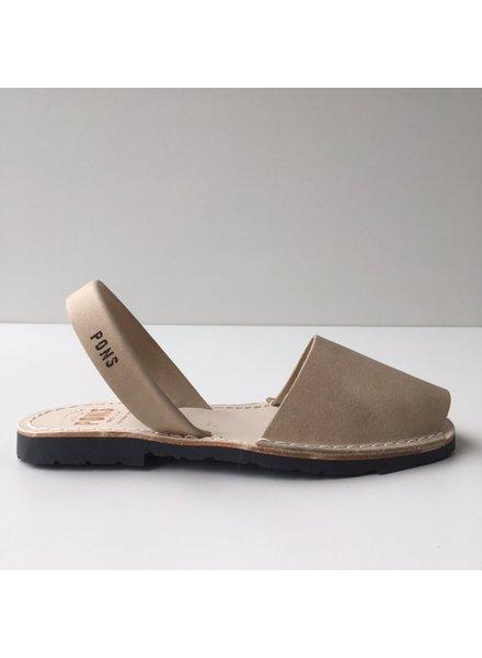 Pons  leren avarca sandaal dames PARIS -  zandkleur beige - 35 tm 42