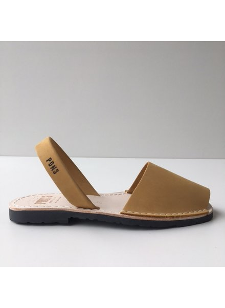 Pons  nubuck leren avarca sandaal dames PARIS -  mosterd geel - 35 tm 42