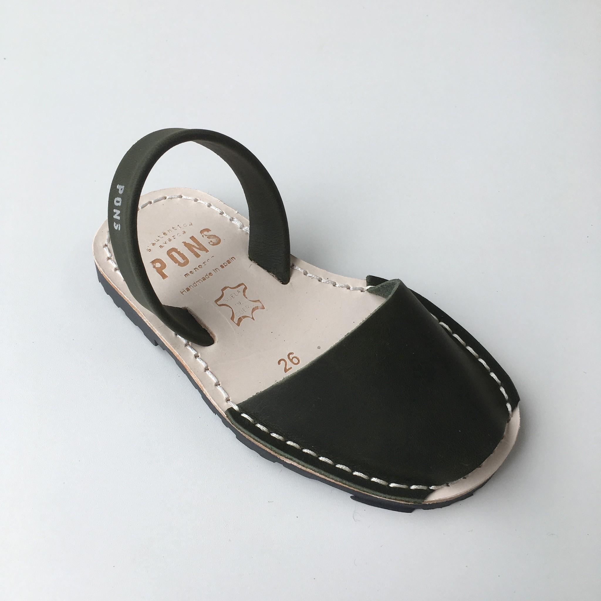 Pons  leren avarca sandaal kind DUNA - dennen groen - 26 tm 34