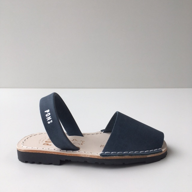 Pons  children's avarca sandal DUNA - navy blue leather - 26 to 34