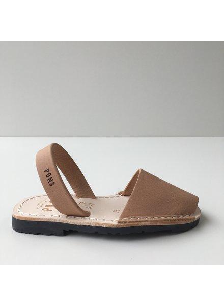 Pons  children's avarca sandal DUNA - tan beige leather - 26 to 34