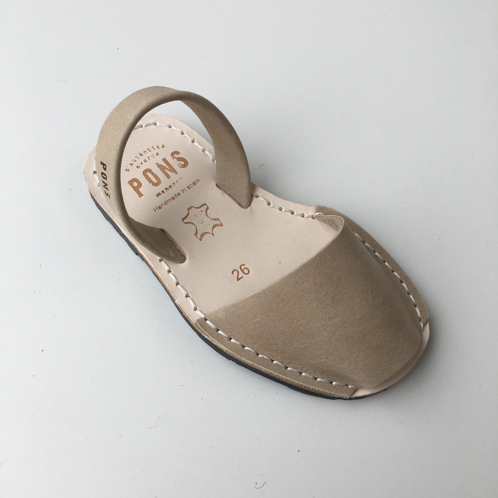 Pons  leren avarca sandaal kind DUNA - zandkleur beige - 26 tm 34