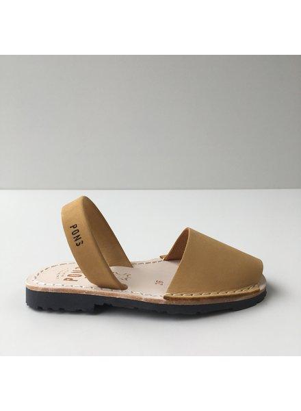 Pons  children's avarca sandal DUNA - yellow nubuck leather - 26 to 34