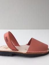 Pons  children's avarca sandal DUNA - coral nubuck leather - 26 to 35