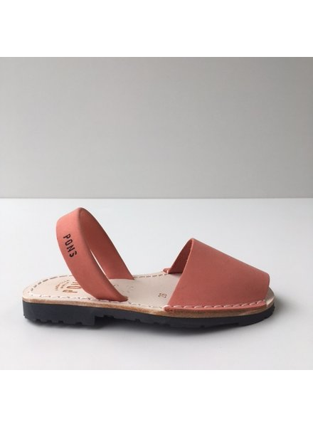 Pons  children's avarca sandal DUNA - coral nubuck leather - 26 to 35