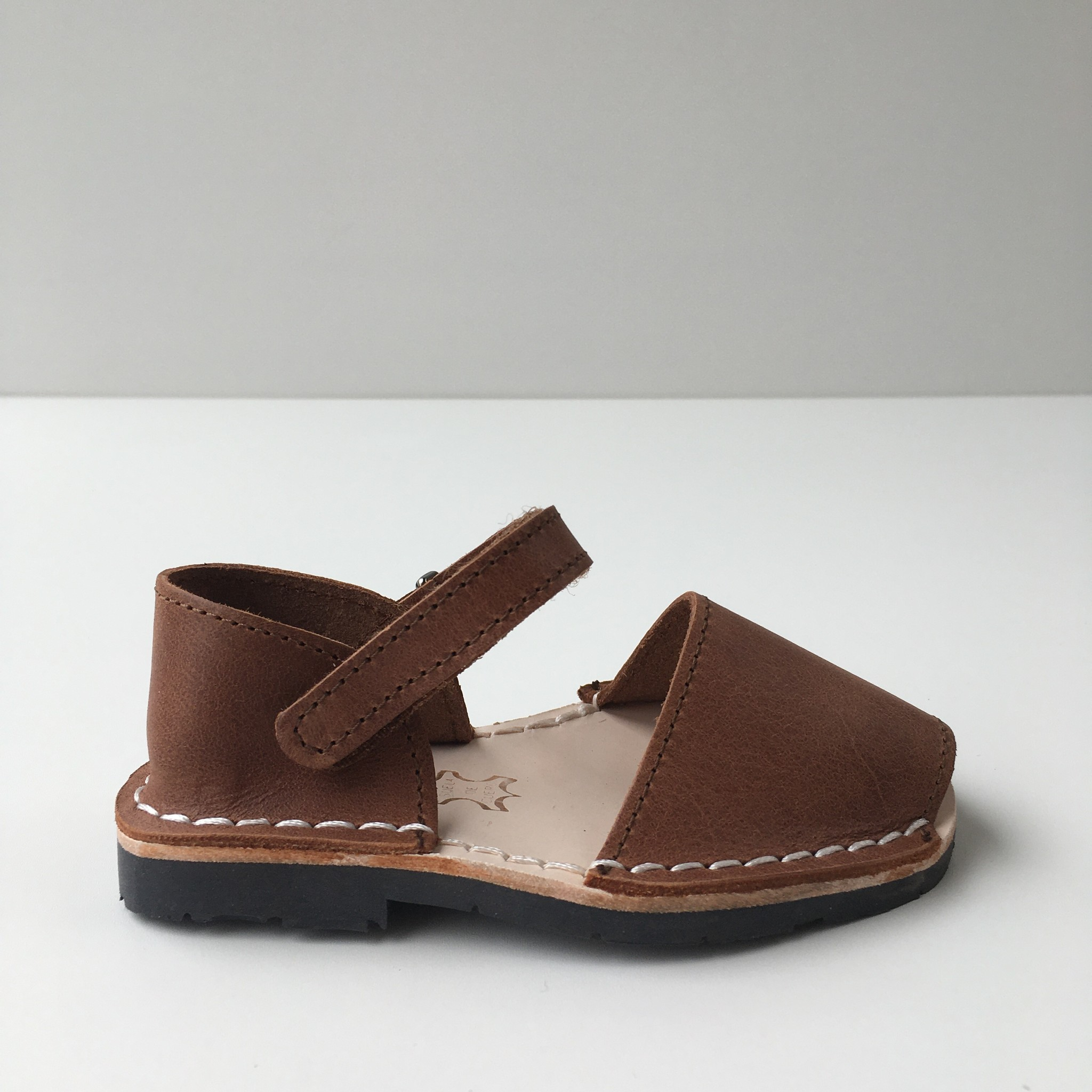 Pons  leather avarca sandal child BOSQUE - brown - 22 to 25