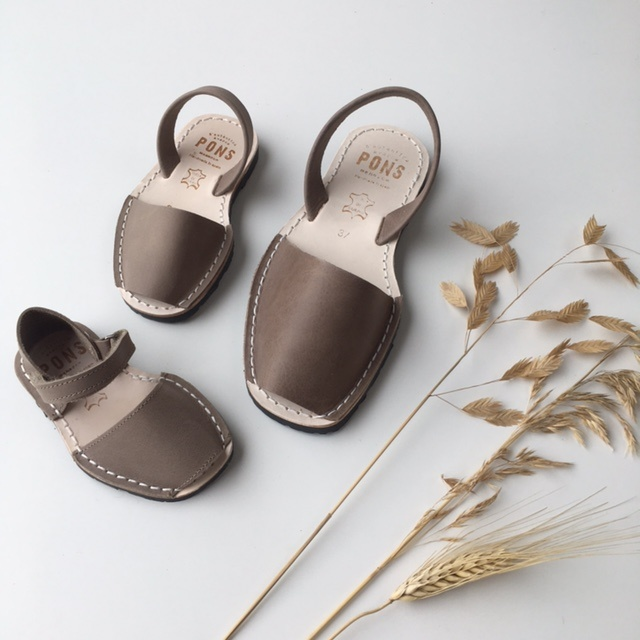Pons  leather avarca sandal child BOSQUE - taupe - 22 to 25