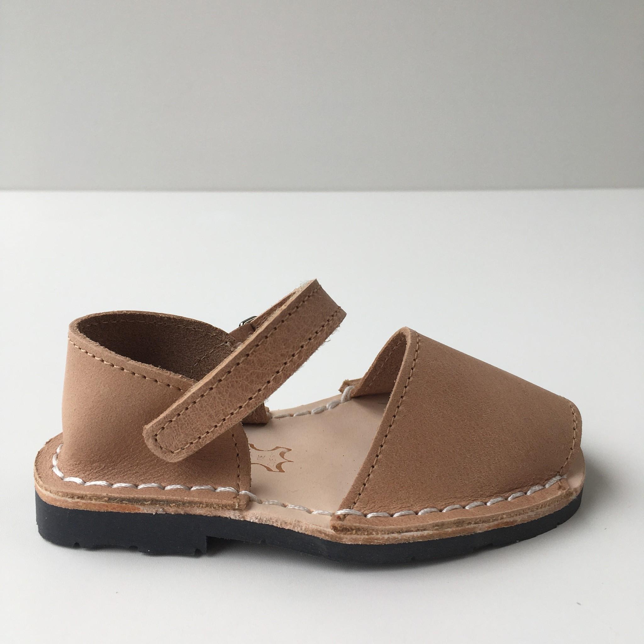 Pons  leather avarca sandal child BOSQUE - tan beige - 22 to 25