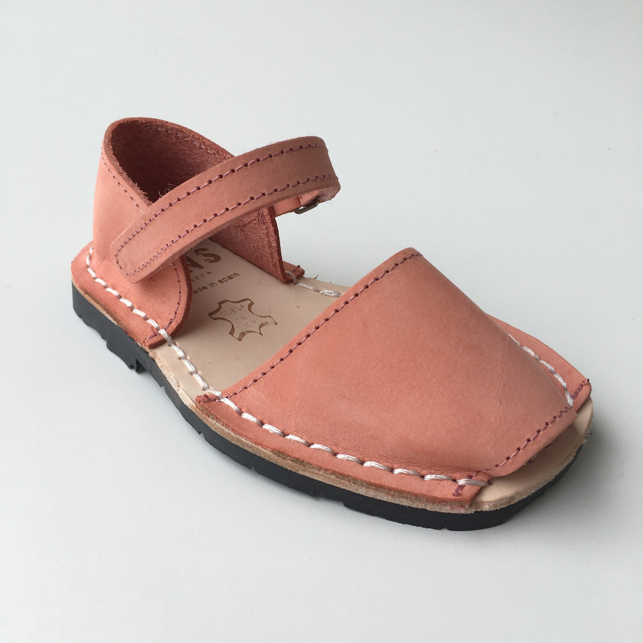 Pons  nubuck leather avarca sandal child BOSQUE - coral - 22 to 25