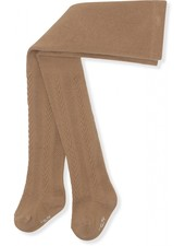 Konges Slojd cotton tights - pointelle/ajour - taupe rose - 56 to 134 cm