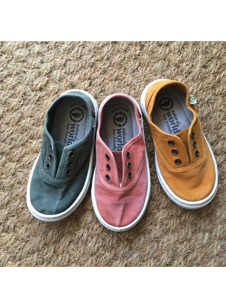 NATURAL WORLD eco children's sneakers EBRO - organic cotton - stone washed terracotta red  - 25 to 38