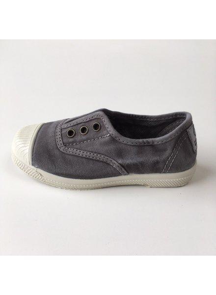 NATURAL WORLD eco kinder sneakers OLD LAVANDA - biologisch katoen - stone washed antraciet - 21 tm 34