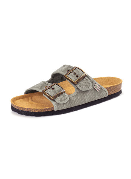 NATURAL WORLD vegan cork sandal unisex adult TROPIC - organic cotton - stone washed light grey - 35 to 46