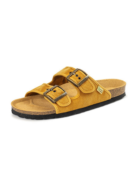 NATURAL WORLD vegan cork sandal unisex adult TROPIC - organic cotton - stone washed ochre - 35 to 46