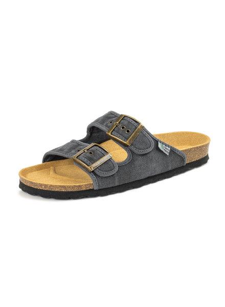 NATURAL WORLD vegan cork sandal unisex adult TROPIC - organic cotton - stone washed anthracite - 35 to 46