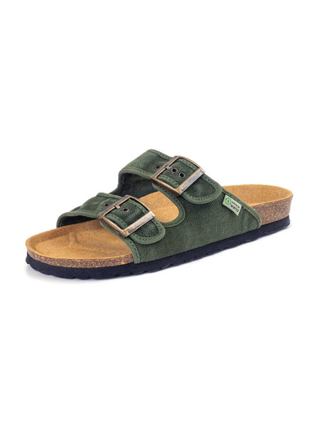 NATURAL WORLD vegan cork sandal unisex adult TROPIC - organic cotton - stone washed khaki - 35 to 46