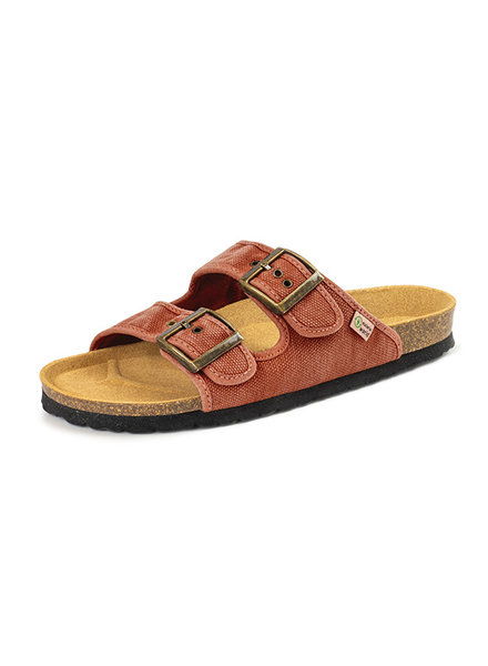 NATURAL WORLD vegan cork sandal unisex adult TROPIC - organic cotton - stone washed red - 35 to 46
