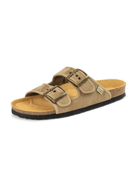 NATURAL WORLD vegan cork sandal unisex adult TROPIC - organic cotton - stone washed brown/ beige - 35 to 46