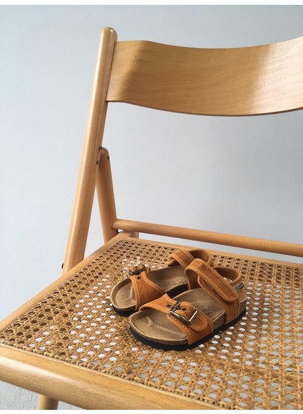 NATURAL WORLD vegan bio children's sandal SUNNY - organic cotton / cork - stone washed ochre - 24 to 34