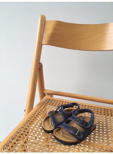 NATURAL WORLD vegan bio children's sandal BEACH - organic cotton / cork - stone washed denim blue - 24 to 34