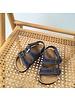 NATURAL WORLD vegan bio children's sandal BEACH DUO - organic cotton / cork - stone washed denim blue - 24 to 34