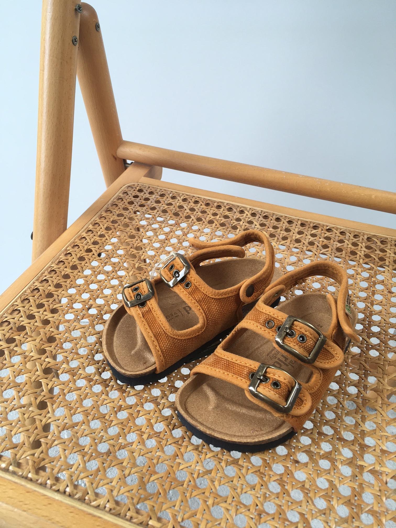 NATURAL WORLD vegan bio children's sandal BEACH DUO - organic cotton / cork - stone washed ochre - 24 to 34