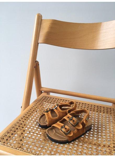 NATURAL WORLD vegan bio children's sandal BEACH - organic cotton / cork - stone washed ochre - 24 to 34