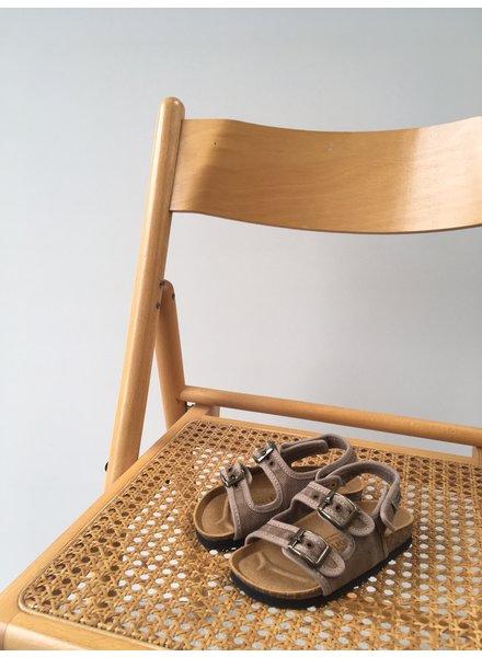 NATURAL WORLD vegan bio children's sandal BEACH DUO - organic cotton / cork - stone washed beige - 24 to 34