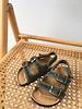 NATURAL WORLD vegan bio children's sandal BEACH DUO - organic cotton / cork - stone washed forrest green - 24 to 34