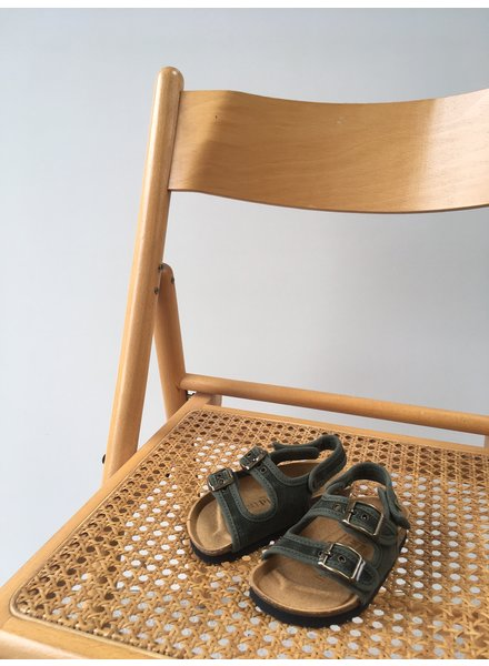 NATURAL WORLD vegan bio children's sandal BEACH - organic cotton / cork - stone washed forrest green - 24 to 34