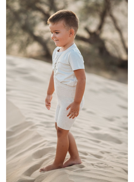 Silly Silas shorty tights with braces - 100% cotton - cream blend - 0 to 3 years