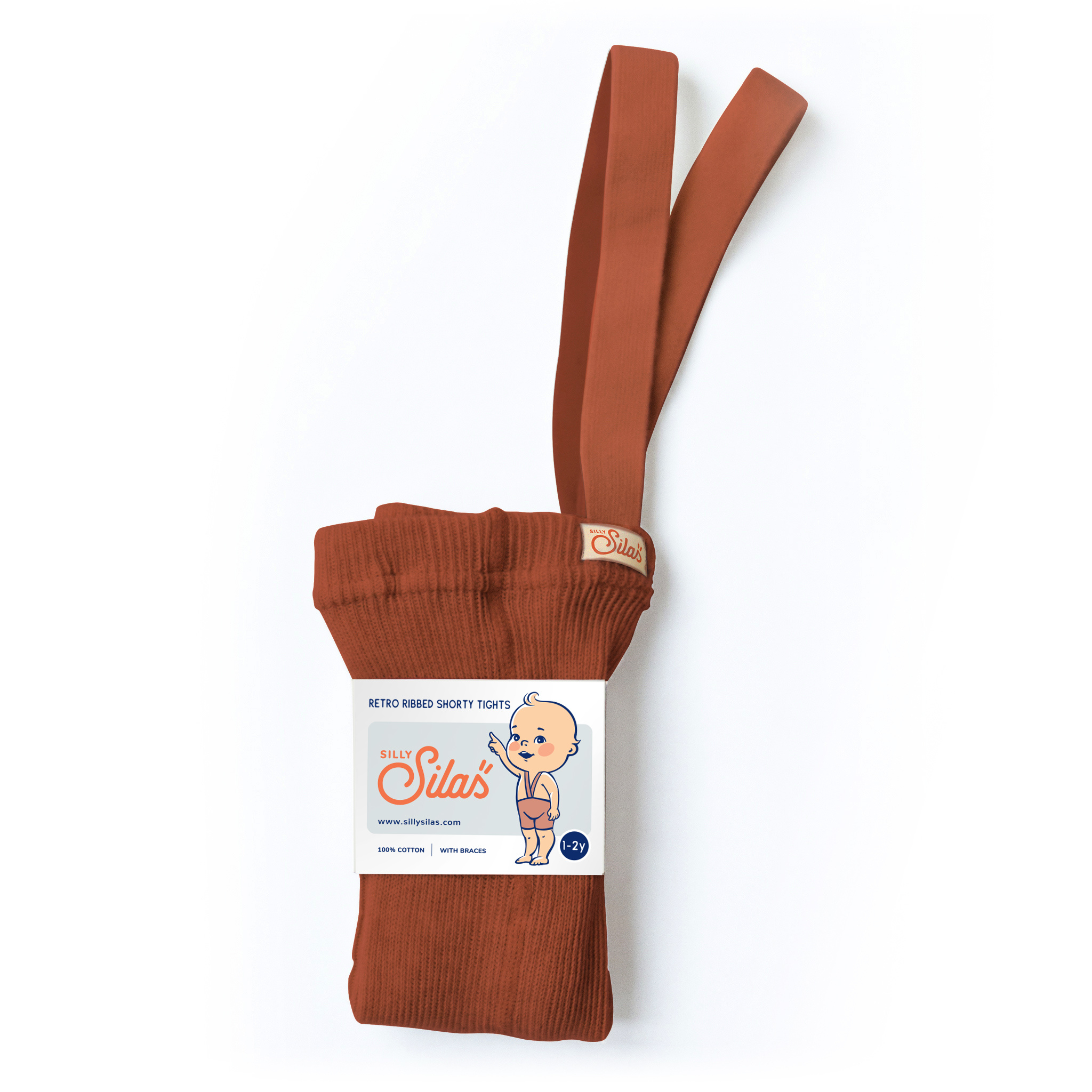 Silly Silas shorty tights with braces - 100% cotton - cinnamon - 0 to 3 years