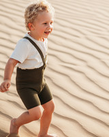 Silly Silas shorty tights with braces - 100% cotton - olive - 0 to 3 years