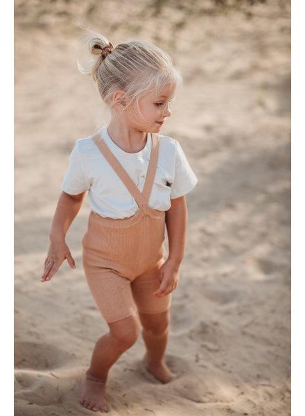 Silly Silas korte maillot/ shorts met bretels - 100% katoen - salmon brown -  0 tm 3 jaar