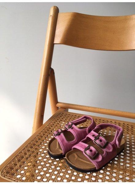 NATURAL WORLD vegan bio children's sandal BEACH DUO - organic cotton / cork - stone washed pink  - 24 to 34