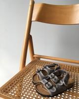 NATURAL WORLD vegan bio children's sandal BEACH DUO - organic cotton / cork - stone washed light grey  - 24 to 34