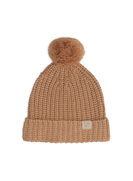 YUKI chunky knit beanie child - 100% organic cotton - coral