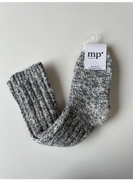 MP Denmark dikke wollen (ski)sokken  - 80% merino  - grijs wit gemleerd - 29 tm 42