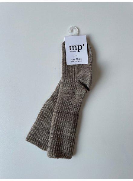 MP Denmark woolen knee socks - 80% merino wool - beige melange - size 15 to 32