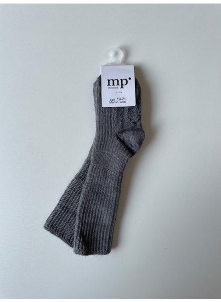 MP Denmark woolen knee socks - 80% merino wool -grey - size 15 to 32