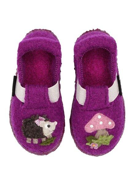 NANGA  woolen barefoot anti-slip slippers HEDGHOG child - 100% organic wool - purple - 23 to 32