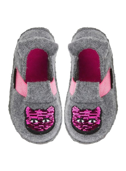 NANGA  wollen anti-slip sloffen barefoot kind GLITTER KITTY - 100% bioloigsche wol - grijs - 23 tm 35